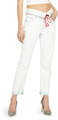 Hudson Jessi Cropped Boyfriend Jeans with Fold-Over Waistband