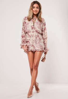 Missguided Pink Printed Tie Detail Frill Short Playsuit