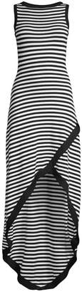Victor Glemaud Striped High-Low Maxi Dress