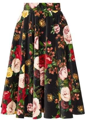 Dolce & Gabbana Rose Print Velvet Midi Skirt - Womens - Black Multi