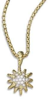 David Yurman Diamond& 18K Gold Starburst Pendant Necklace