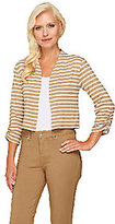Liz Claiborne New York 3/4 Sleeve Striped Knit Shrug