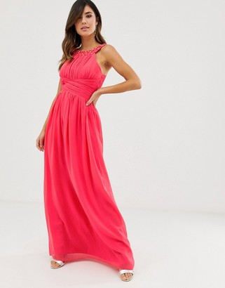 Little Mistress diamante and pearl embellishment maxi dress
