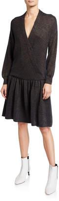 Brunello Cucinelli Surplice-Neck Long-Sleeve Dropped-Waist Metallic-Knit Dress