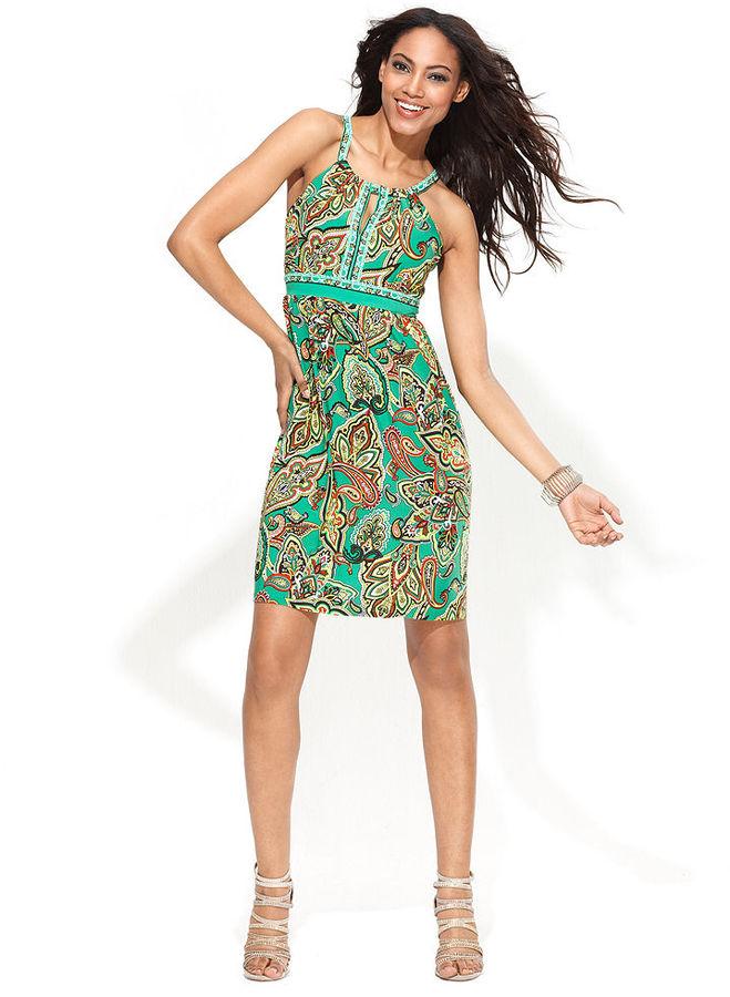 INC International Concepts Petite Dress, Sleeveless Printed Empire-Waist