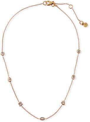 Dominique Cohen 18k Rose Gold Mixed Diamond Choker Necklace