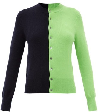 Extreme Cashmere Little Game Bi-colour Stretch-cashmere Cardigan - Green Multi