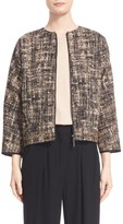 Zero Maria Cornejo Women's 'Tilda' Collarless Tweed Bomber Jacket