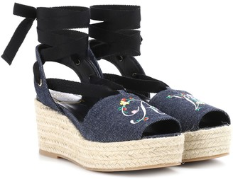 Roger Vivier Blooming denim wedge espadrilles