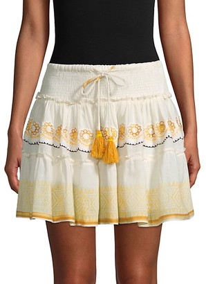 HEMANT AND NANDITA Smocked Tassel Tie Mini Skirt
