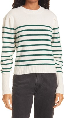 La Ligne Stripe Puff Sleeve Cashmere Sweater