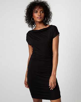 Le Château Jersey Cowl Neck Pleated Dress