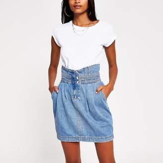 River Island Blue high waisted mini denim skirt