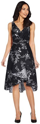 Adrianna Papell Pleated Bodice Wrap High-Low Jacquard Dress (Black/Silver) Women's Dress