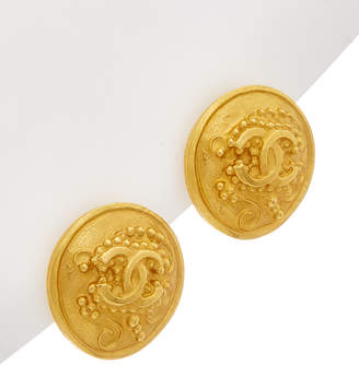 Chanel Gold-Tone Filigree Cc Round Earrings