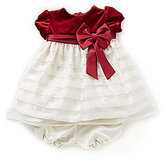 Jayne Copeland 3-24 Months Velvet-Bodice Shadow-Stripe-Skirt Christmas Holiday Dress