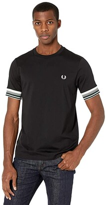 Fred Perry Bold Cuff T-Shirt (Black) Men's Clothing
