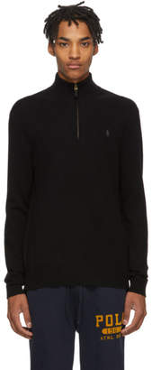 Polo Ralph Lauren Black Wool Half-Zip Sweater
