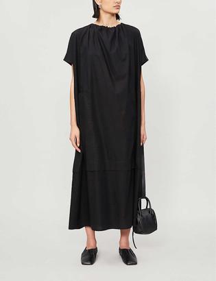 Toogood Gathered round-neck cotton midi dress