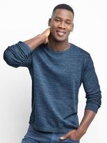 Stripe cotton-linen crew pullover