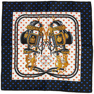 One Kings Lane Vintage Hermes Blue Brides de Gala Love Scarf - Vintage Lux