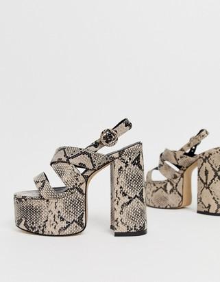 Lamoda natural snake chunky platform heeled sandals