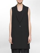 Calvin Klein Platinum Stretch Twill Long Tailored Vest