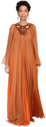 Alberta Ferretti Sheer Silk Chiffon Long Dress