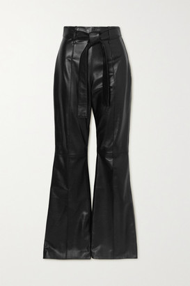 16Arlington Hana Leather Flared Pants - Black