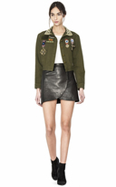 Alice + Olivia Chloe Embroidered Cropped Jacket W Pins