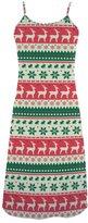 LumosDress Women's Christmas Reindeer and Rabbit Polyester Casual Slip Dress XS