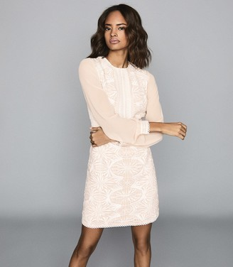 Reiss ARIA LACE-DETAIL DRESS Neutral