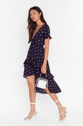Nasty Gal Womens Tie-ing to Find a Balance Polka Dot Midi Dress - Navy