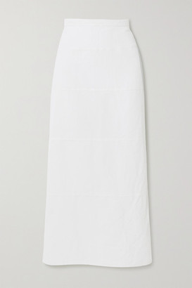 Brock Collection Paneled Cotton And Linen-blend Poplin Midi Skirt - White