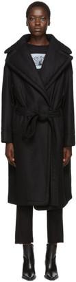 Ann Demeulemeester Black Wool Wide Lapel Belted Coat