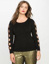 ELOQUII Plus Size Diamond Cut Out Sleeve Sweater