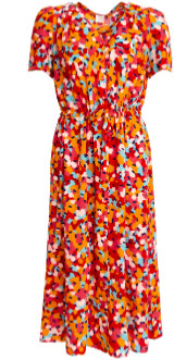 Des Petits Hauts Midi Floral Red Vianila Dress - xlarge
