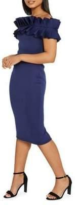 Quiz Ruffled Off-The-Shoulder Bardot Sheath Dress