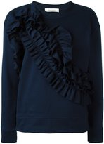 Cédric Charlier ruffled panel sweatshirt - women - Cotton - 40