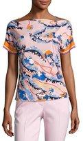 Emilio Pucci Printed Kimono-Sleeve Boat-Neck Top, Pink/Multi