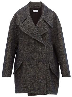 Raey Oversized Linen-blend Tweed Pea Coat - Navy Multi