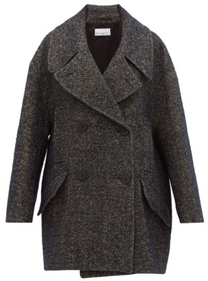 Raey Oversized Linen Blend Tweed Pea Coat - Womens - Navy Multi