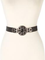 Betsey Johnson Black Stone-Embellished Buckle Stretch Belt