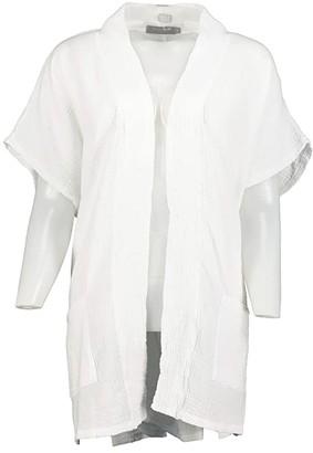 Mod-o-doc Double Layer Gauze Dolman Short Sleeve Boxy Cardigan (Twilight) Women's Clothing