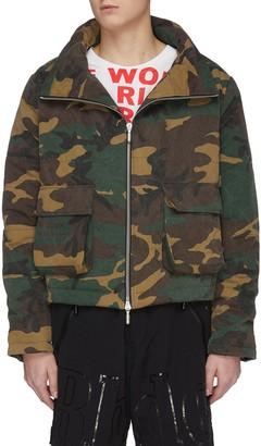 Rhude Camouflage print mock neck zip puffer jacket