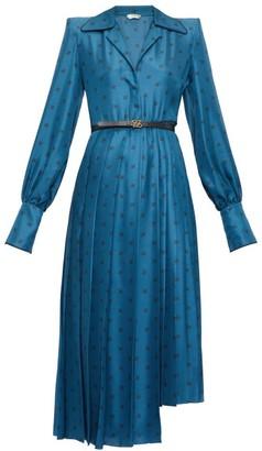 Fendi Gloria Karligraphy Logo-jacquard Satin Shirtdress - Womens - Blue Multi