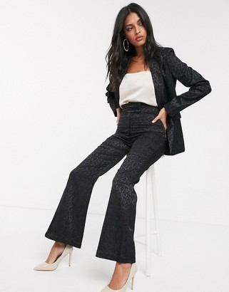 Fashion Union tailored wide leg pants in black paisley jacquard