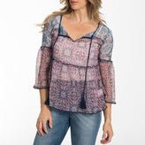 """Jessica Simpson Patterned Blouse With Three-Quarter Sleeves"""""""