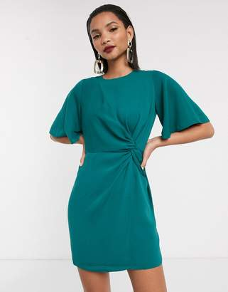 Asos Design DESIGN twist front mini dress with angel sleeve-Green
