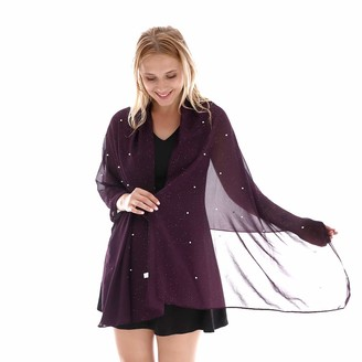 Kavingkaly Beautiful Pearl Embellished Shawl and Wrap Shiny Glitter Evening Dress Bridal Wedding(Purple)